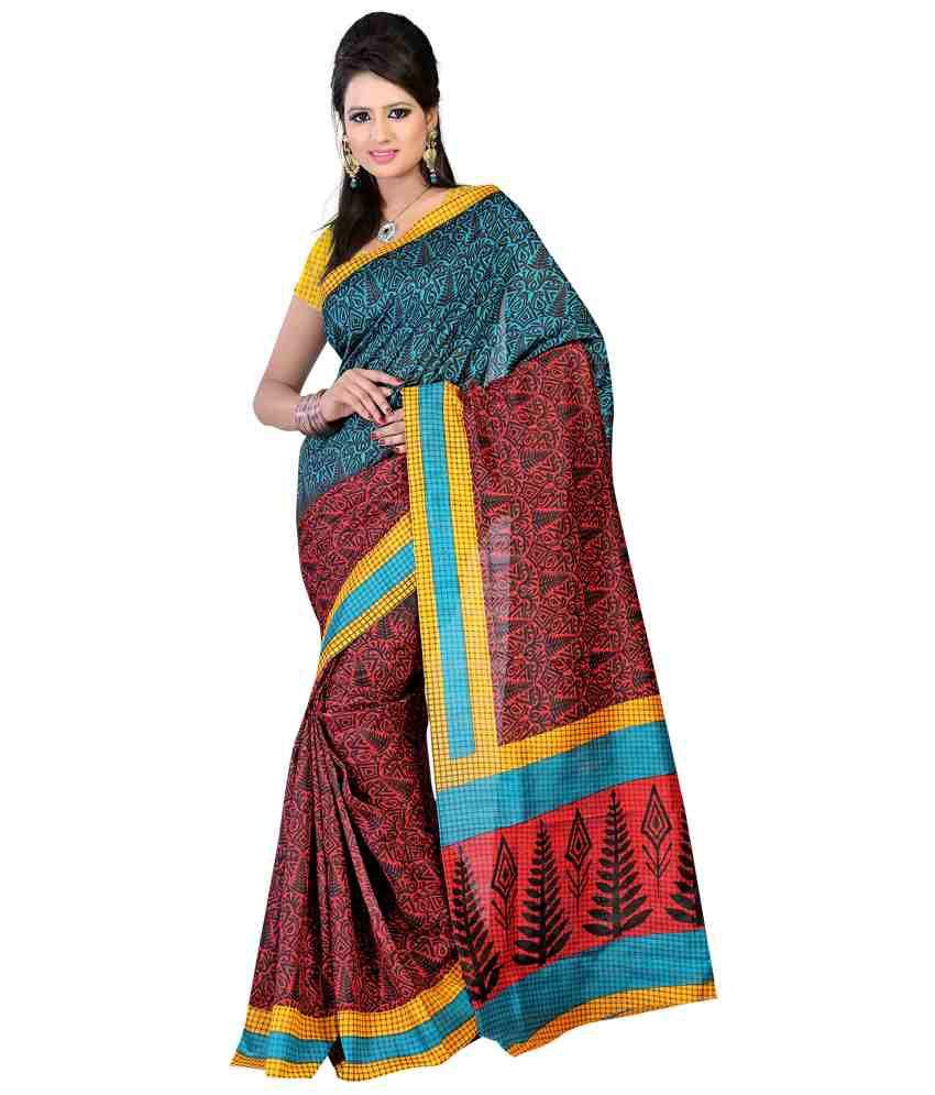 Bunny Sarees Multi Color Cotton Silk Saree