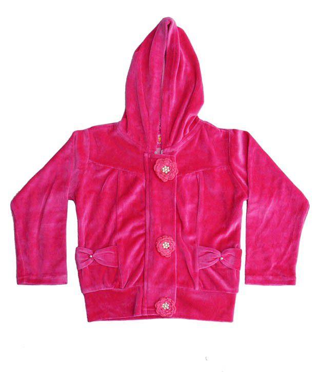 Sweet Angel Pink Color Full Sleeves Hooded Zipper Jacket For Kids
