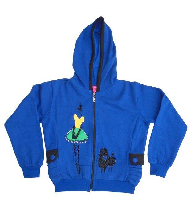 Sweet Angel Royal Blue Color Full Sleeves Hooded Zipper Jacket For Kids