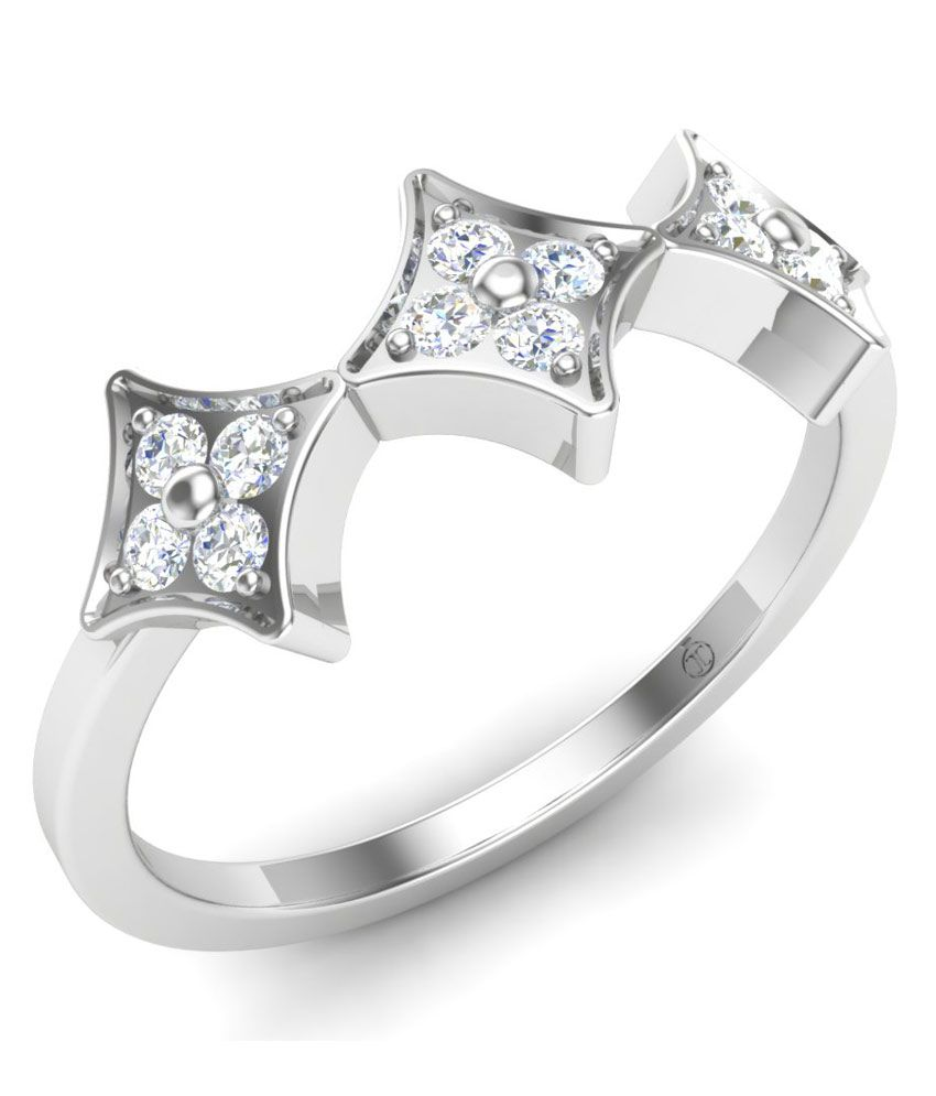 Theme Jewels Casual LR-0018, Certified Real Diamond & 14Kt Hallmarked White Gold Ring