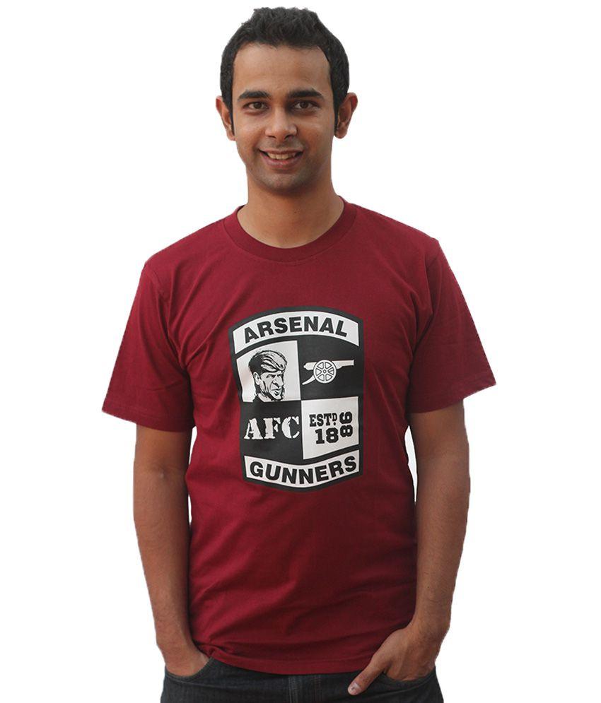 642 Stitches Maroon Cotton T-shirt