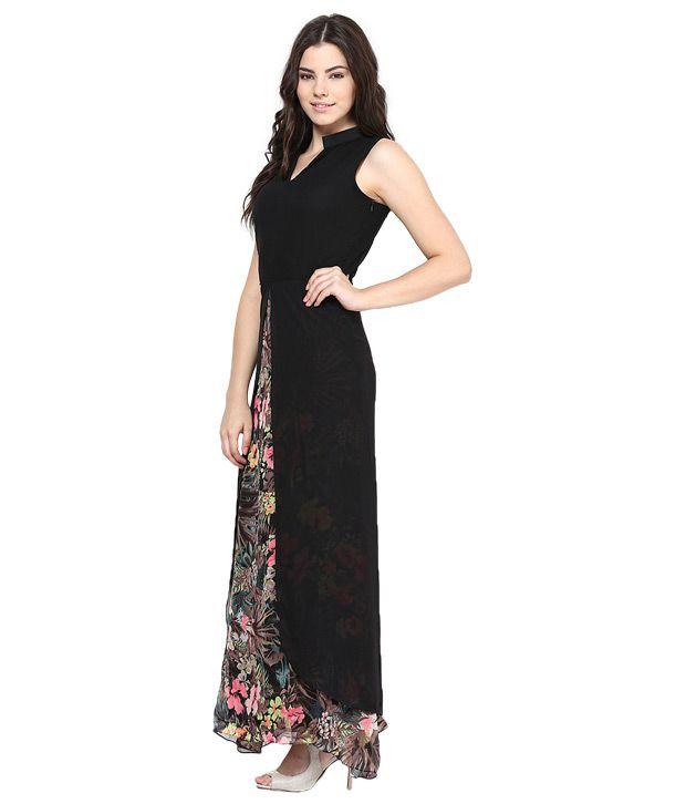 3ac3588165 Athena Black Georgette Maxi Dress Athena Black Georgette Maxi Dress ...