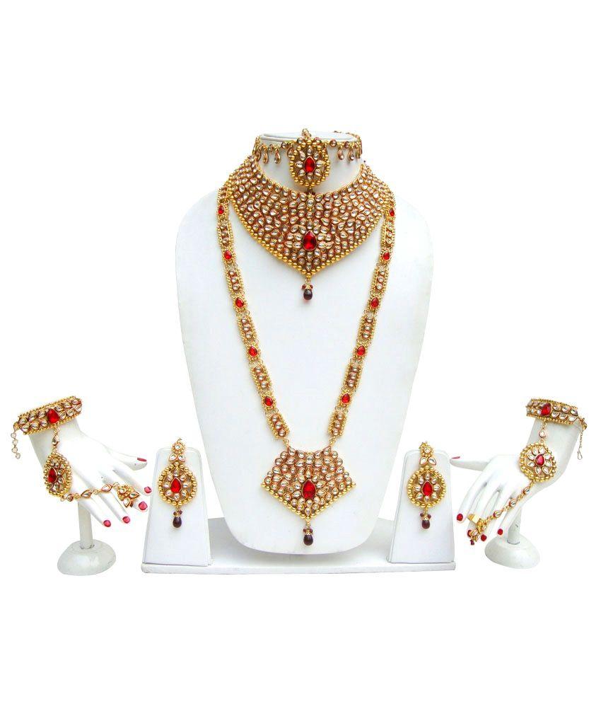 Lucky Jewellery Glitters Maroon Kundan Set