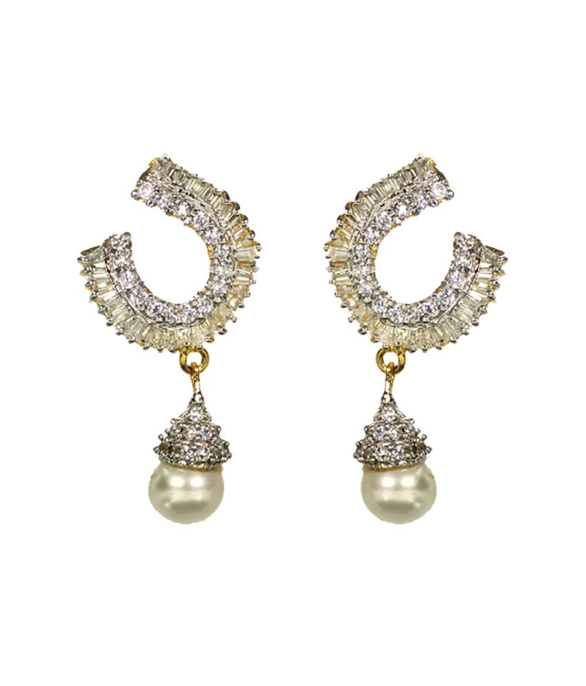 Vaishali Bindi And Bangles Stunning Gold And Rhodium Plated Cz Earring With Hanging Pearl