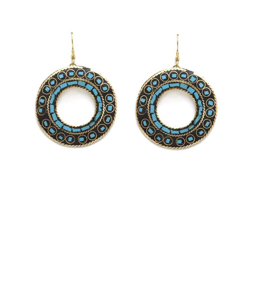 Hotberries Jewel Medium Blue Ravishing Circle Loop Earrings