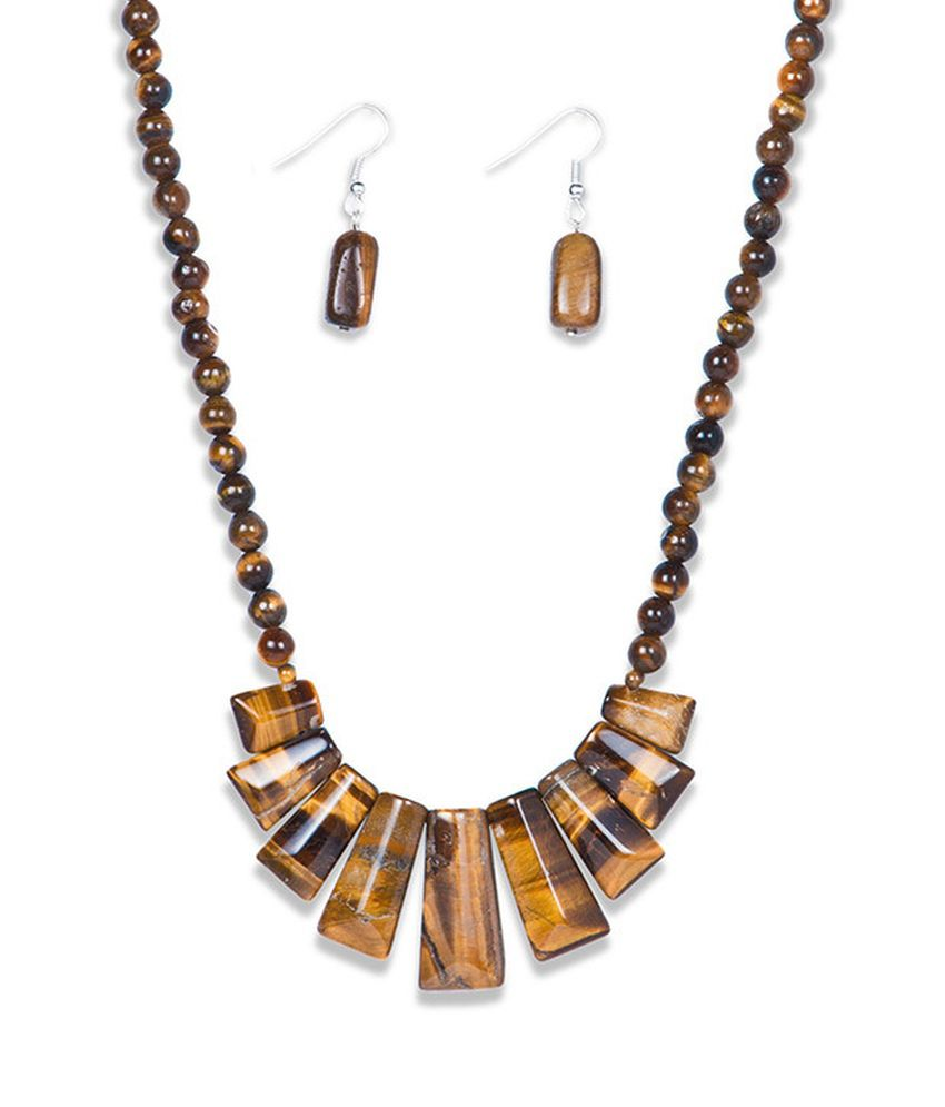Just Women Brown Tiger Eye Necklace And Earring Set