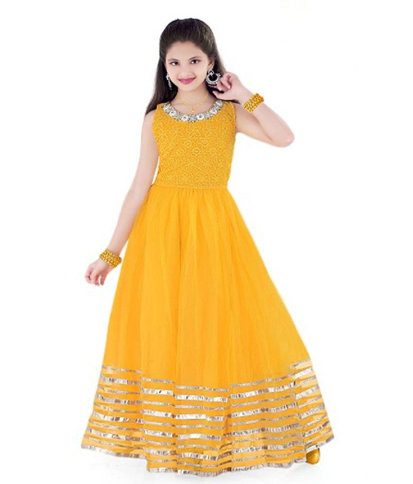 Mebaz Yellow Net Gown With Chicken Embroidery Yoke For Kids - Buy Mebaz Yellow Net Gown With ...