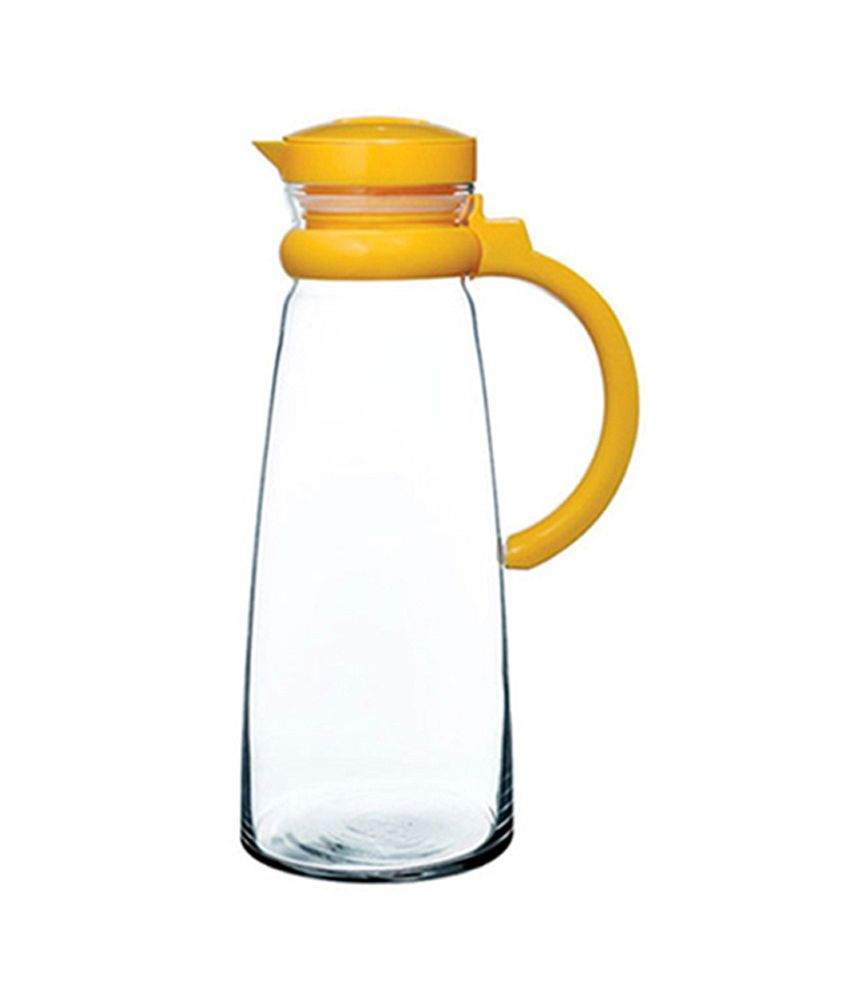 Pasabahce Clear And Yellow Glass 1420 Ml Basic Jug With Handle