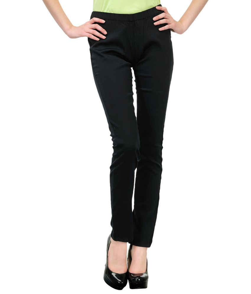 Fashion Cult Black Cotton Lycra Jeggings