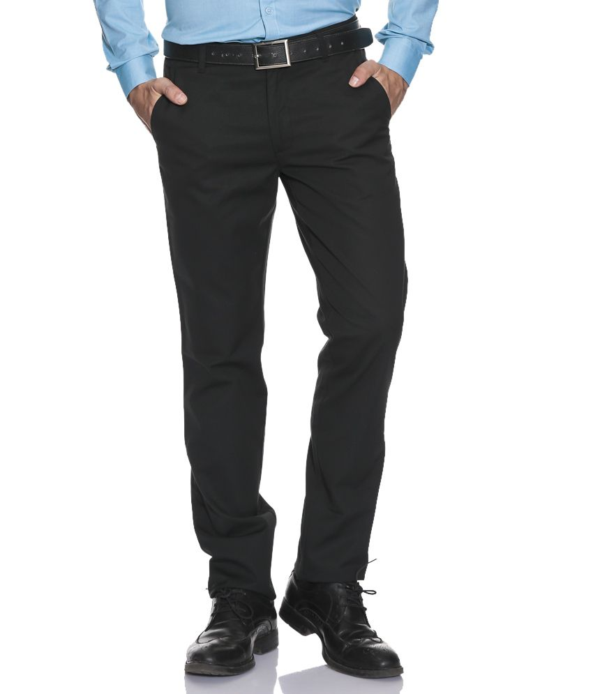 John Players Black Slim Formals Trousers & Chinos