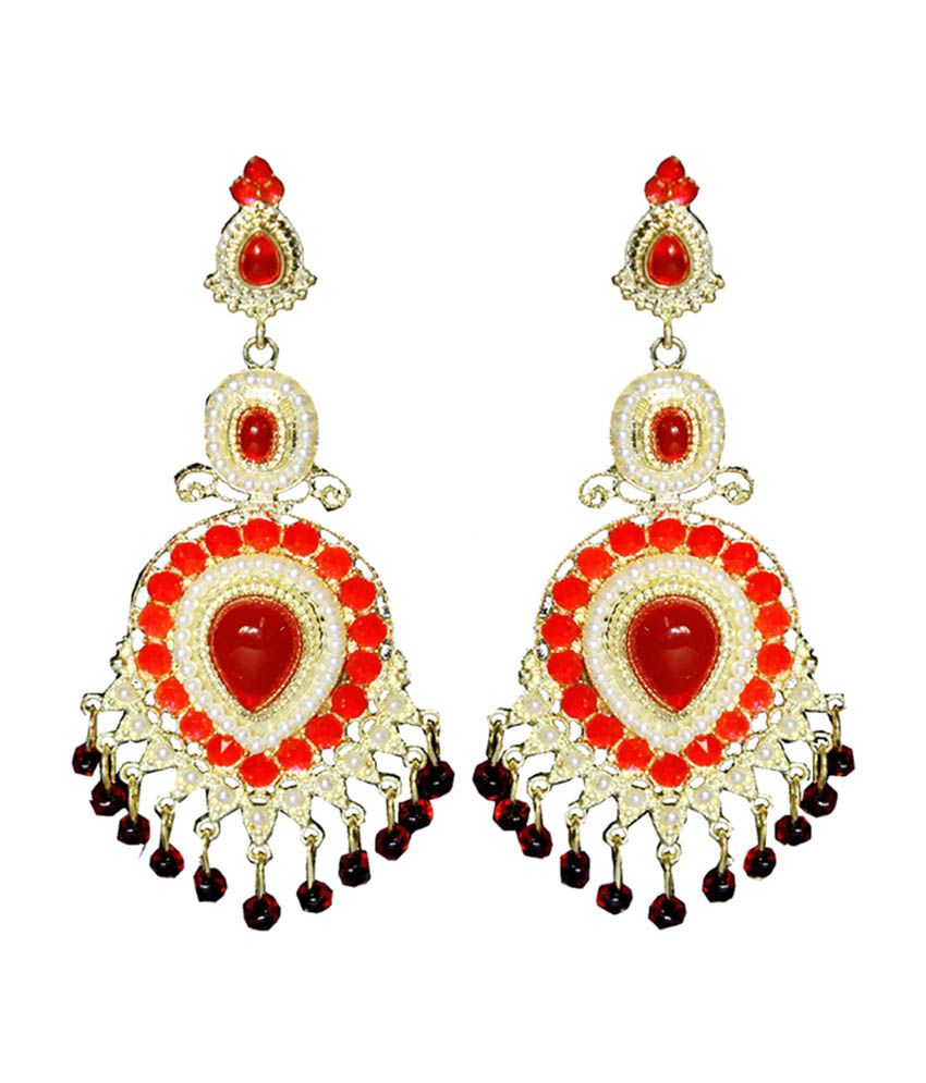 Moda Desire Red Stone Chandelier Earrings