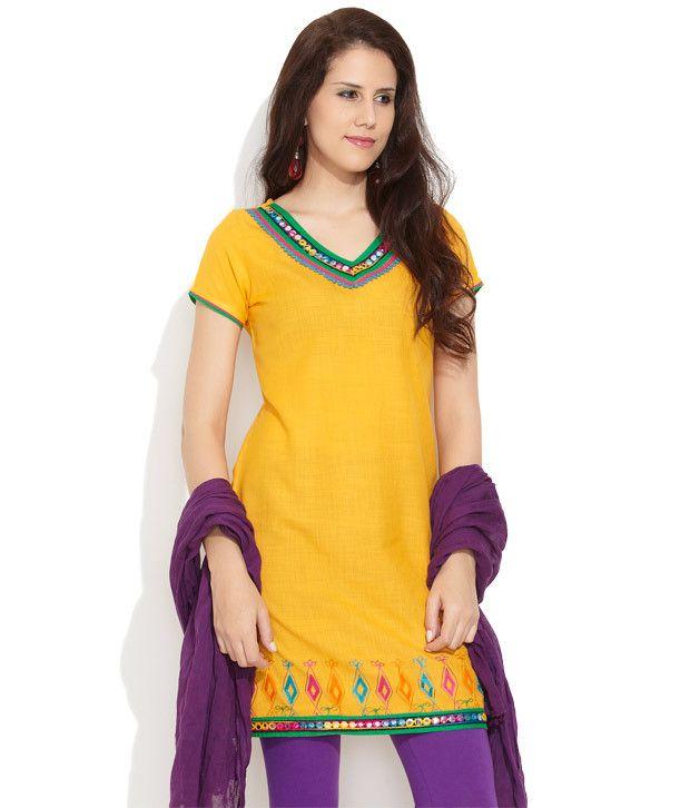 G Yellow Embroidered Ethnic Kurta