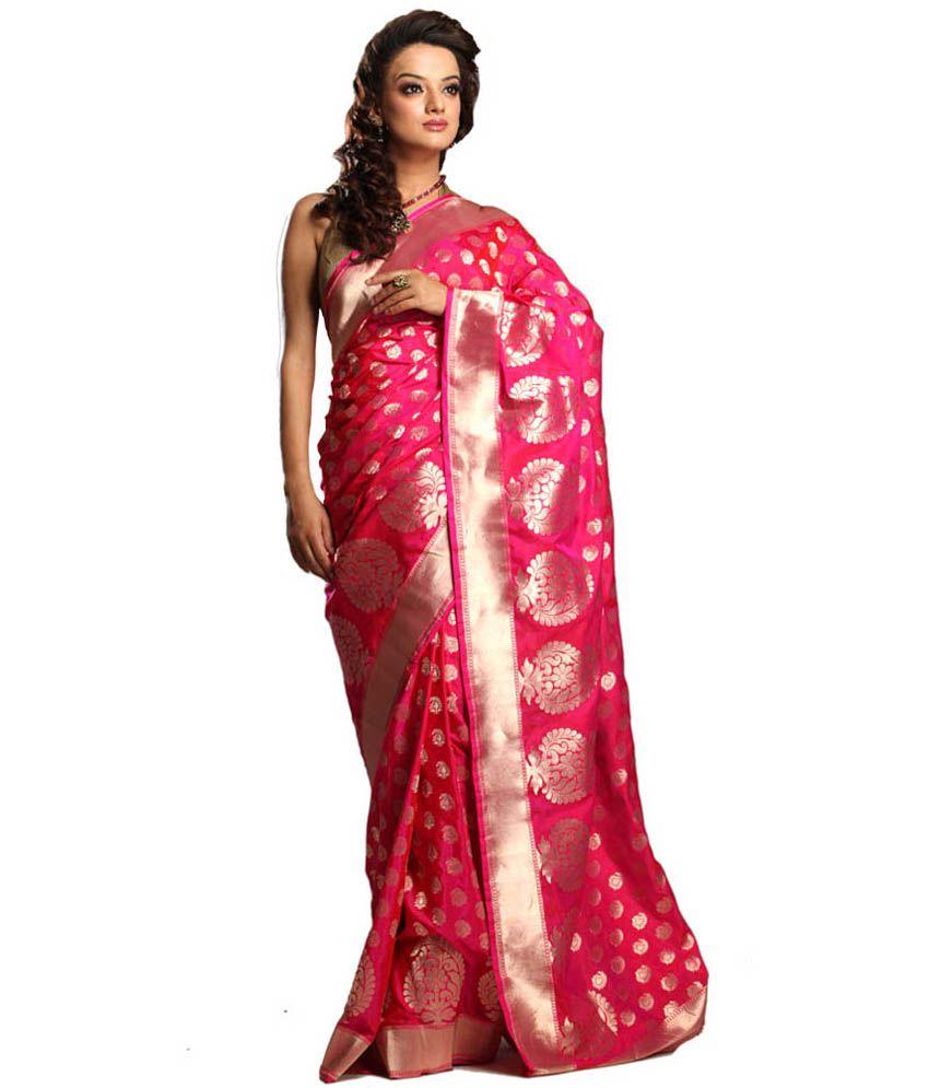Kataan Bazaar Pure Silk Hand Woven Rani Saree In Uppada Skirt Design