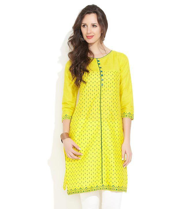Lovely Lady Lemon Vibrant Charms Kurti