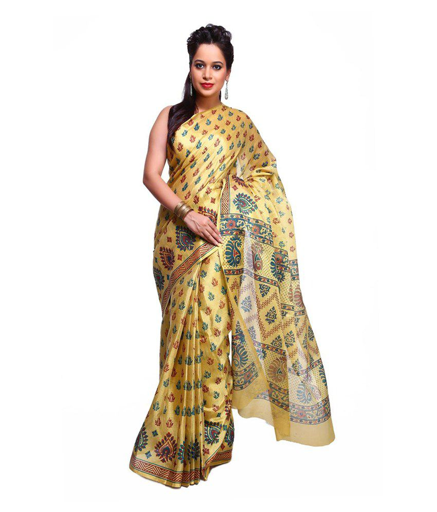 Vida Beige Banarasi Cotton Silk Saree With Blouse Piece