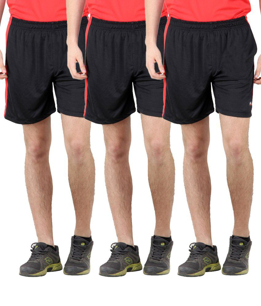 Dazz Gear Black Polyester Solids Shorts (pack Of 3)