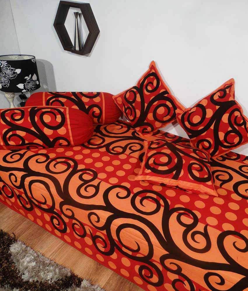 Heritagefabs cotton floral diwan set best price in india for Diwan design 2018