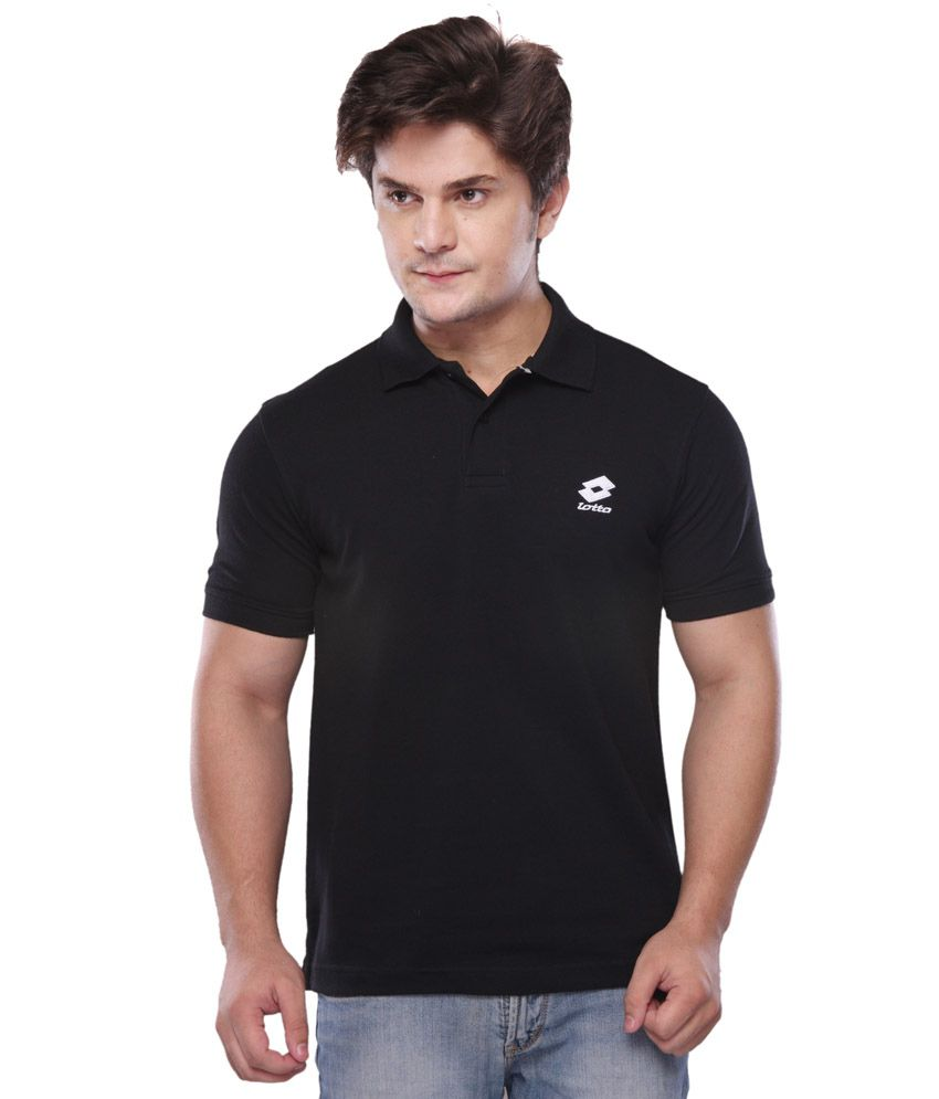 Lotto Black Half Polo T-shirt