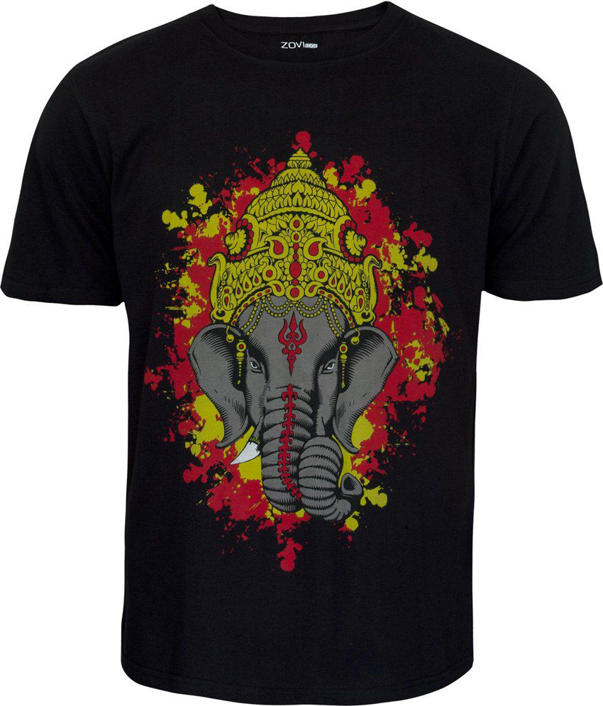 Zovi Ganesha Black Graphic T-shirt