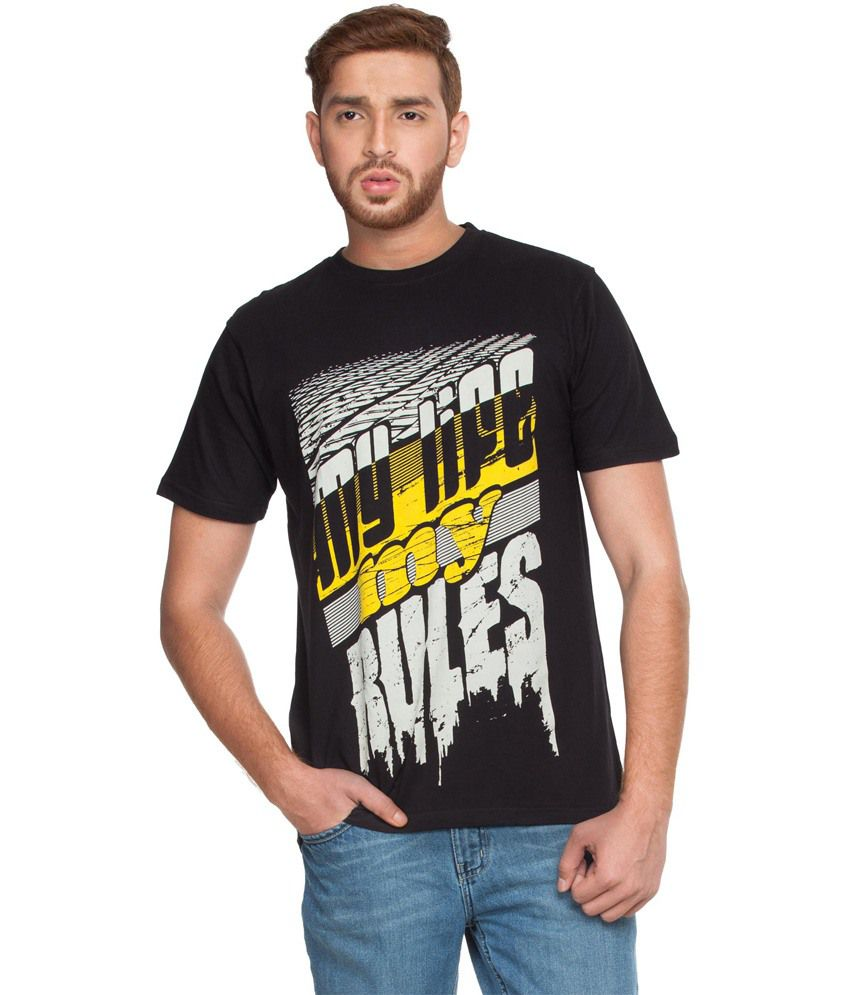 Zovi My Life My Rules- Black Graphic T-shirt