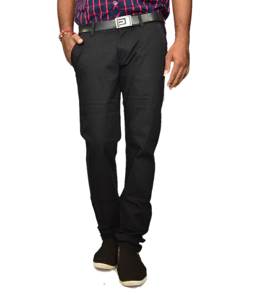 British Terminal Black Slim Casuals Chinos