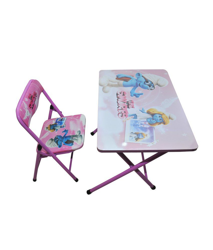 Happy Kids Foldable Study Table And Chair - The Smurfs (pink)