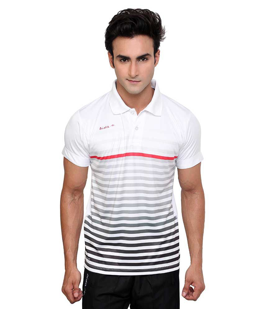 Dida  White Half Stripers Polo T-shirt