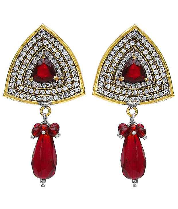 Johareez Red Onyx And White Cubic Zircon Copper Earrings