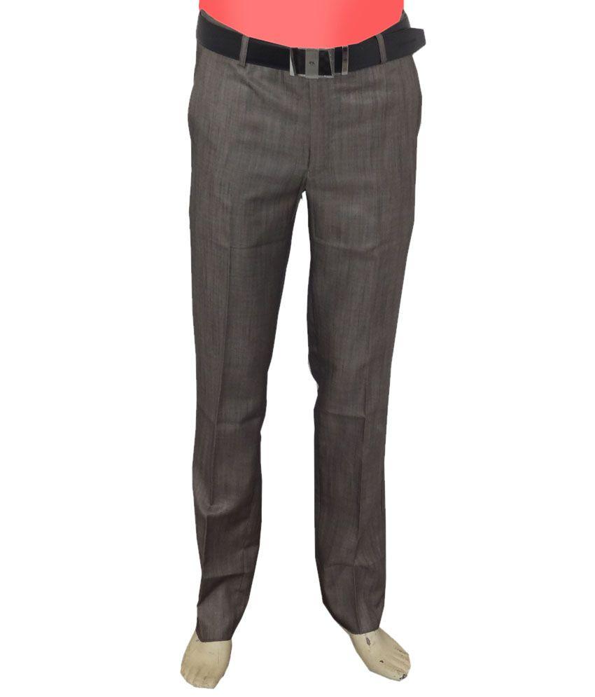 Oswal Gray Regular Formal Flat Trouser