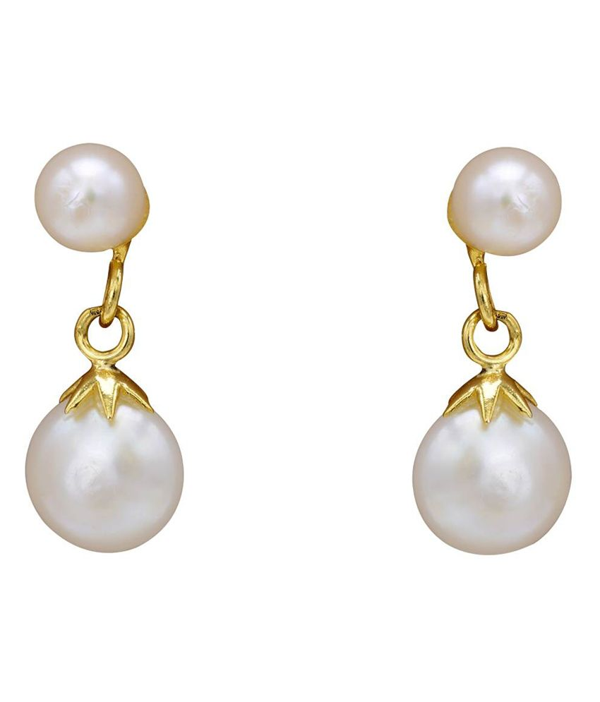 Pearls Cart White Uber Green Alloy Hangings Earrings