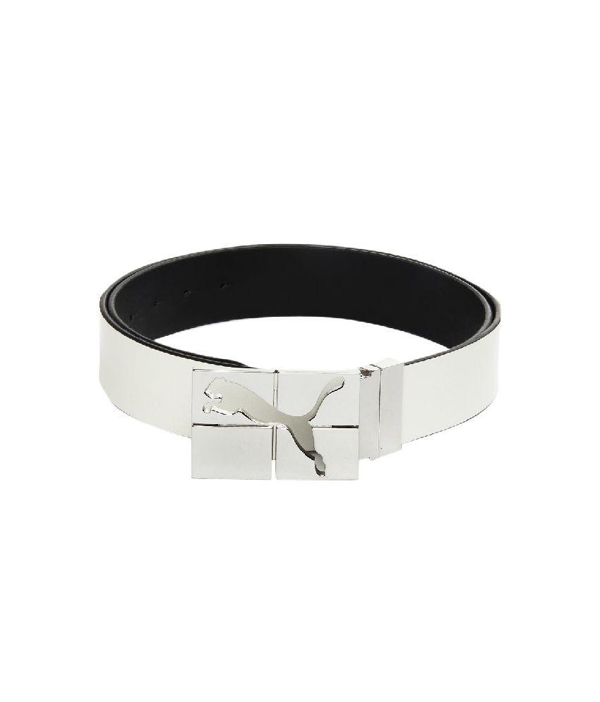 Puma White Casual Reversible Belt For Men
