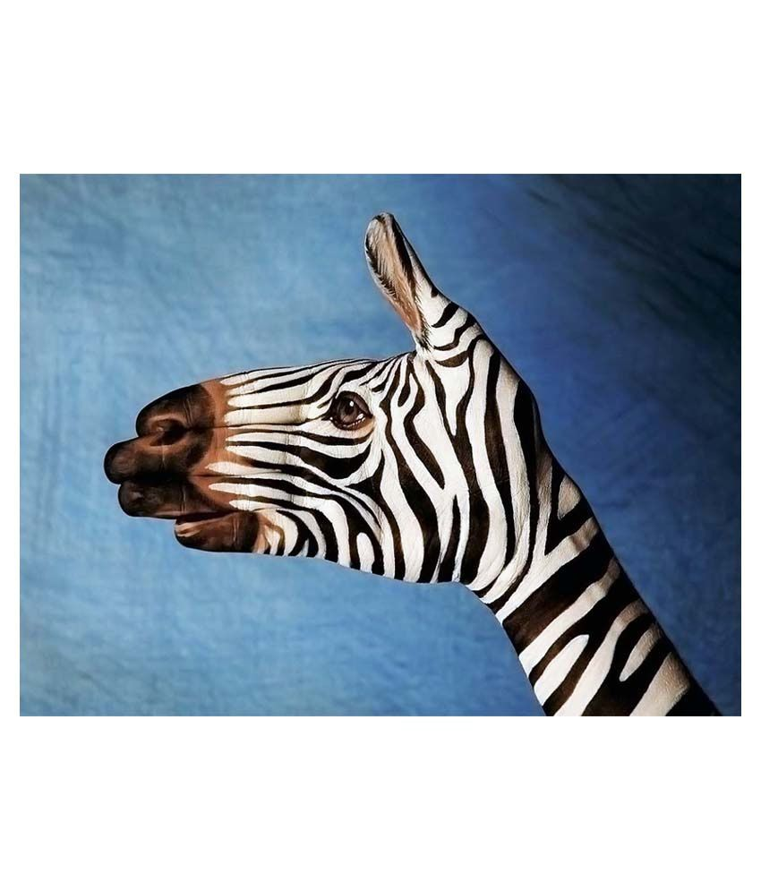 Vishnu Artz Multicolour Zebra Art Canvas Wall Painting