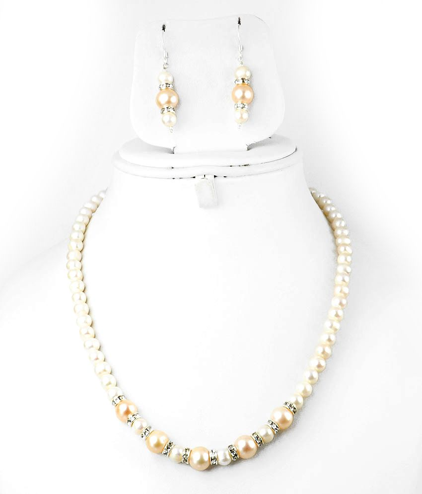 Single Line Beads: Barishh Pearl Bead Single Line Necklace With Silver Lock
