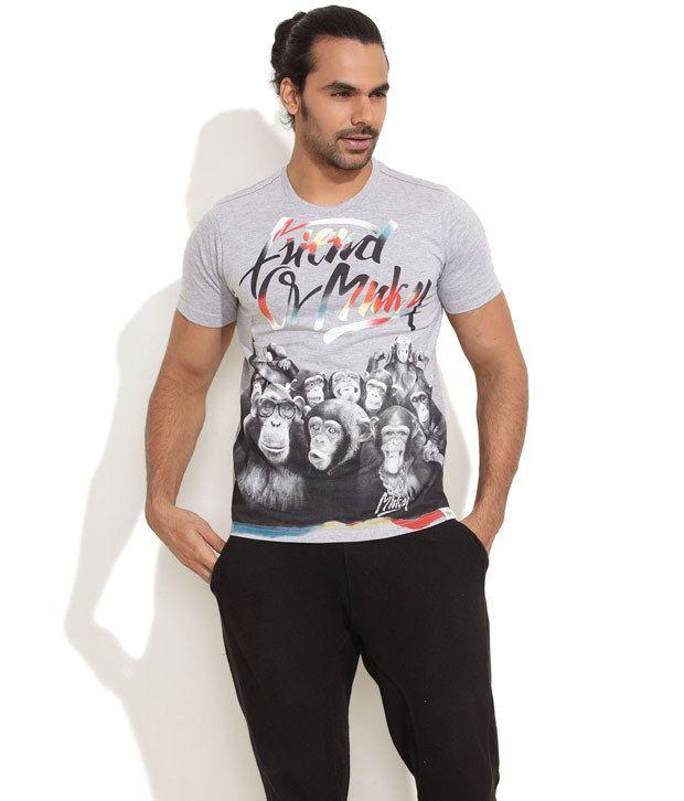 Blue Monkey Light Grey Monkey Love Printed T-Shirt