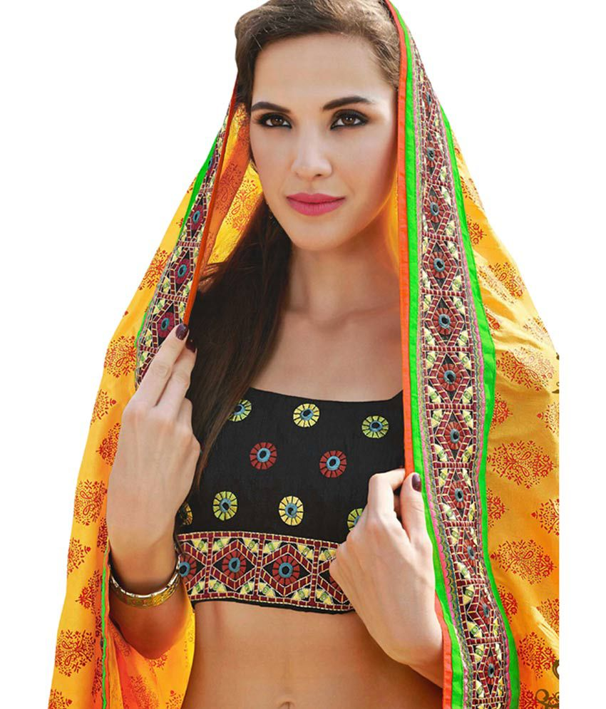 Colors Fashion Multicolor Embroidered Cotton Saree With Blouse Piece