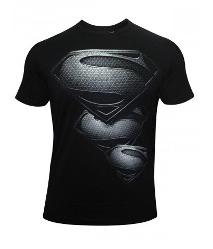 Black t shirt buy online - Quco Fashion Superman Black Silver Diamond T Shirt