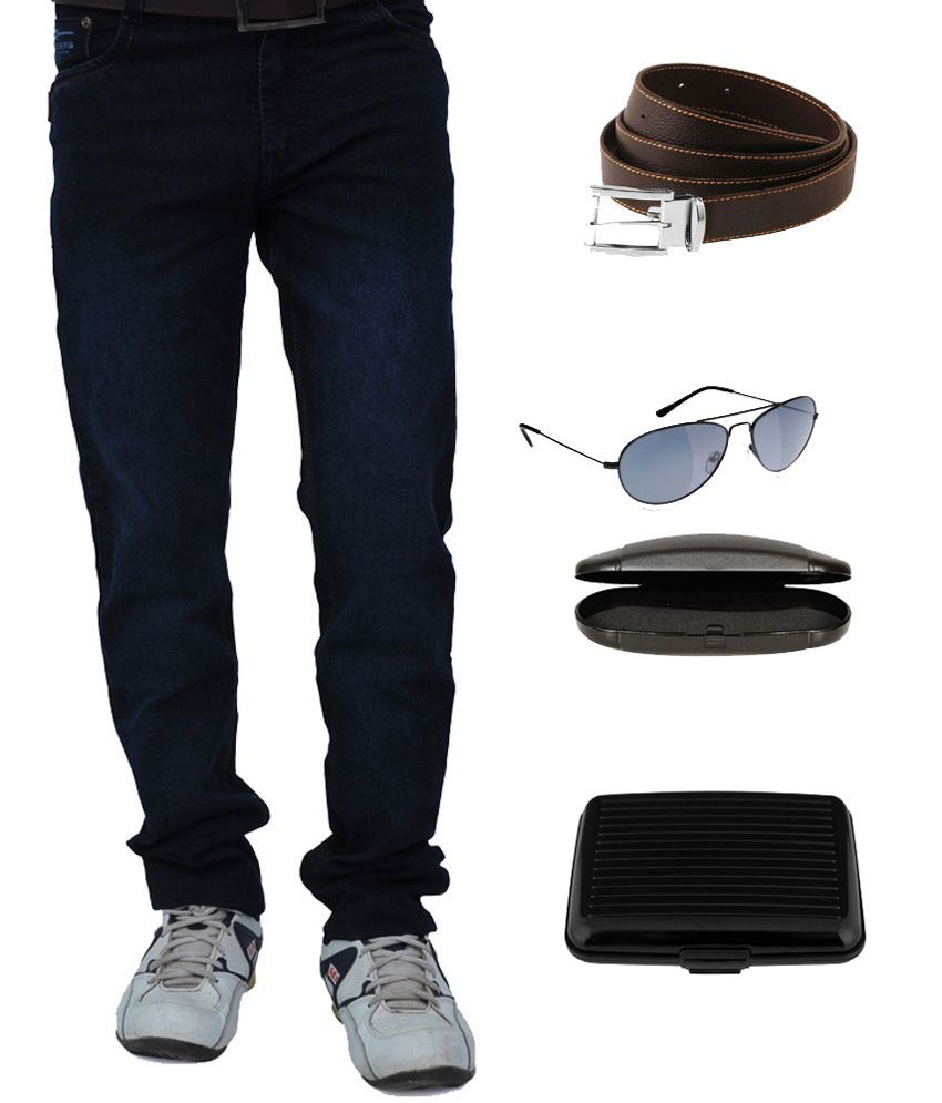 Red Snow Blue Slim Fit Jeans With Free Wallet,belt,sunglasses And Cover