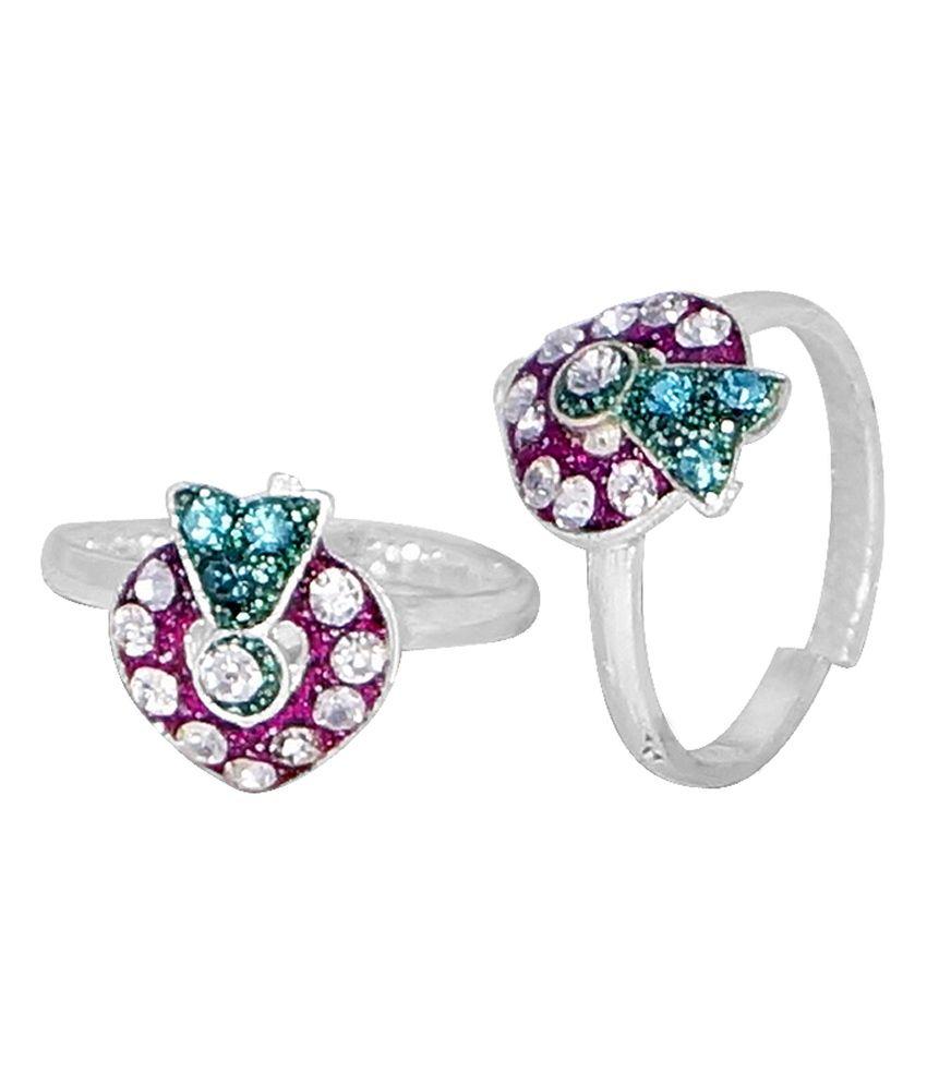 R S Jewels Silver Plated Cz Studdeds Pink, Green Enamel Heart Shape Toering