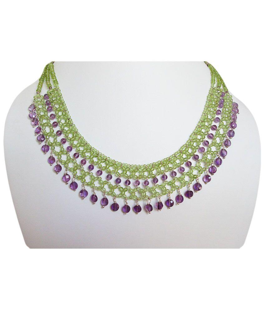 Anushruti Traditional 92.5 Semi Precious Gems Necklaces And Sets