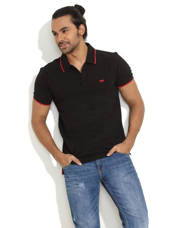 62765852791af Levi's Black Tipped Pique Polo T-Shirt - Buy Levi's Black Tipped Pique Polo  T-Shirt Online at Low Price - Snapdeal.com