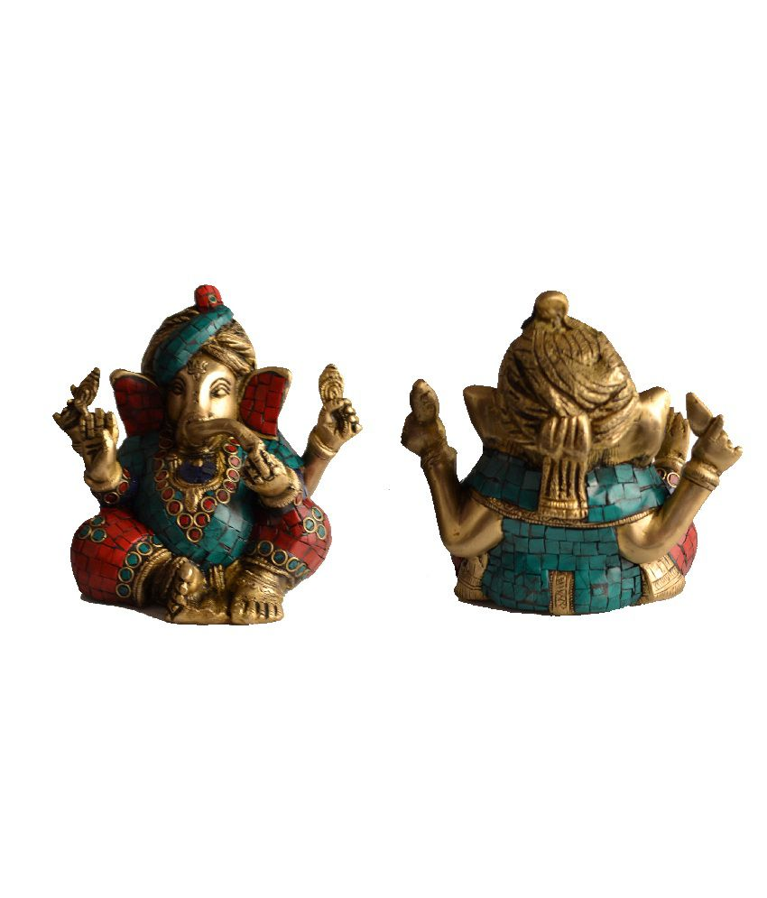 Mesleep Gold Brass Pagri Mosiac Lord Ganesha Idol