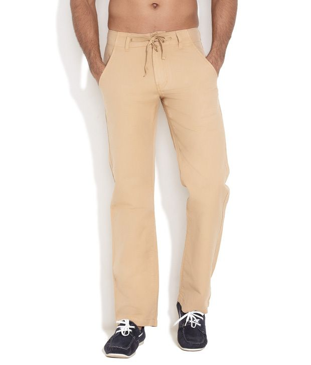 Freecultr Yellow Comfort Fit Solid Drawstring Pants