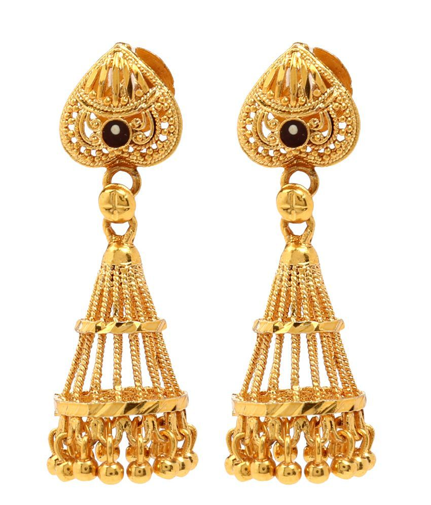 Cone Shaped Intricately Designed Festive Jhumki by GoldNera