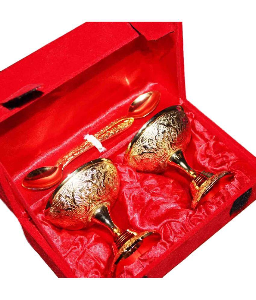 Saanvi Enterprises Gold Others Ice Cream Bowl Set (4 Piece)