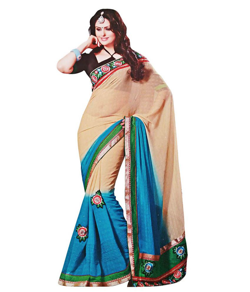 84e1f862ee Vimal Sarees Blue and Beige Georgette Saree - Buy Vimal Sarees Blue and  Beige Georgette Saree Online at Low Price - Snapdeal.com