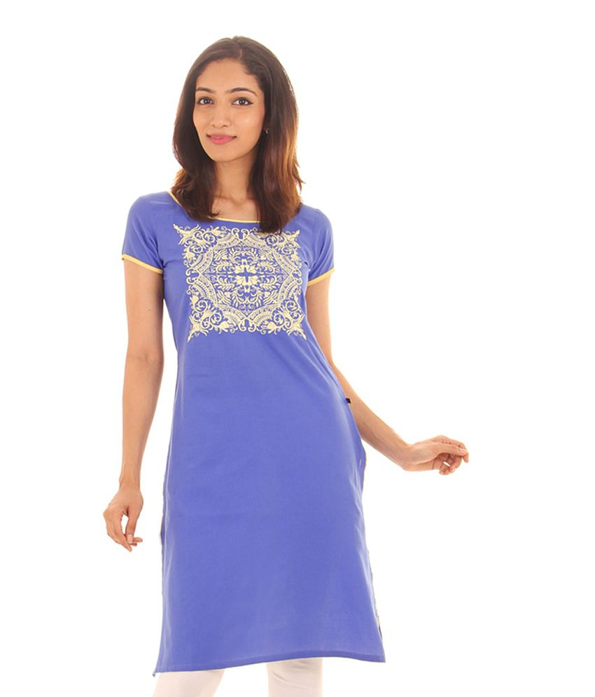 Estyle Ampro Blue Casual Cotton Kurti With Extensive Embroidery Work
