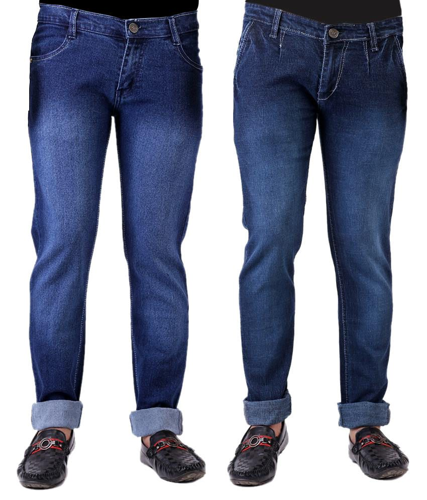 Haltung Faded Set Of 2 Slim Fit Blue Jeans With 1 Pair Of Socks