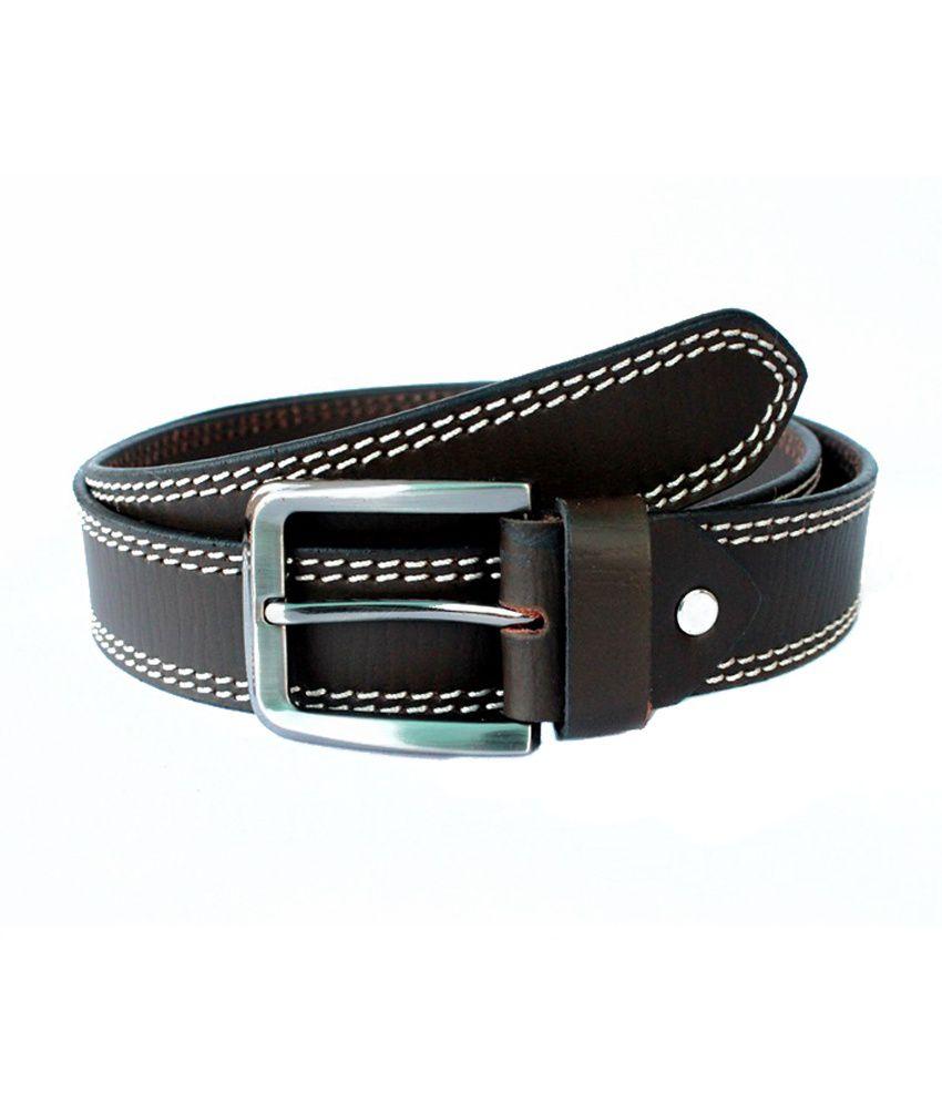 Tops Brown Side Stitched Leather Belt for Men