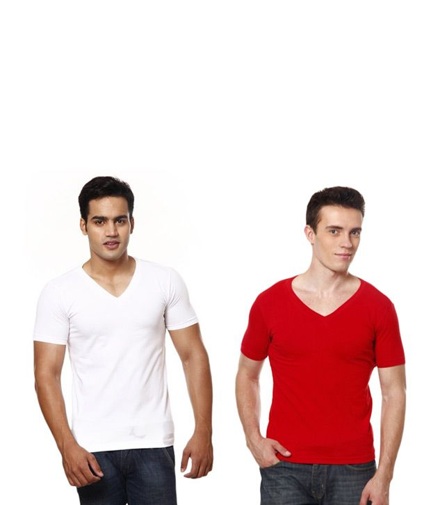 Casual Tees White And Red V Neck T- Shirt