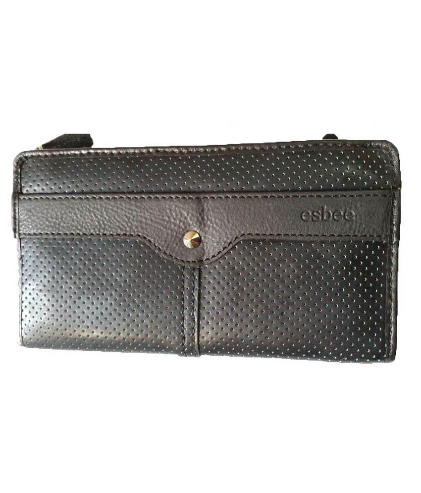 Esbee Premium Black Leather Regular Wallet For Women